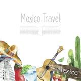 Design för symboler för vattenfärg för loppbegreppsMexico gränsmärke Royaltyfria Bilder