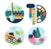 Design för symbolsuppsättninglandskap vektor illustrationer