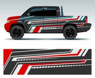 Design för tävlings- bil Diagram för medelsjalvinyl med bandvektorillustrationen royaltyfri illustrationer