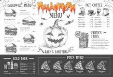 Design för tappninghalloween meny gifta sig för tomater för matställemeatrulle rökt Arkivfoto
