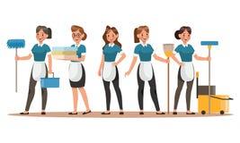 Design för tecken för lokalvårdpersonal Lycklig cleaning Design för begrepp för lokalvårdföretagsvektor vektor illustrationer