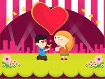 Design för tecknad film för pojkegåvablomma Arkivbilder