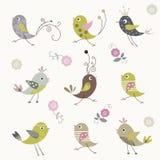 Design för tecknad filmfågelbakgrund Arkivfoton