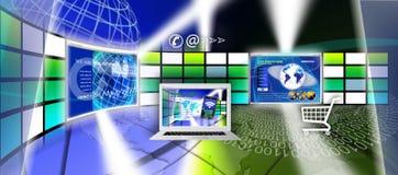 Design för teknologiwebsitesida stock illustrationer