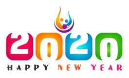 Design för text för kort 2020 för lyckligt nytt år och för lyckligt folk färgrik hälsa i kulört på vit bakgrund stock illustrationer