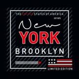 Design för typografi Brooklyn för inskränkt upplaga stock illustrationer