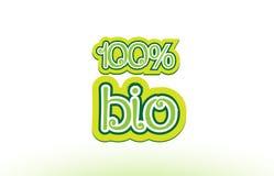 design för typografi för symbol för logo för 100% bio ordtext stock illustrationer