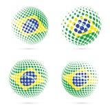 Design för vektor Brasilien för rastrerad flaggauppsättning patriotisk Royaltyfri Fotografi