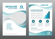 Design för vektor för signal för grå färger för turkos för våg för sida för räkning för format A4 för orienteringsreklambladmall royaltyfri illustrationer