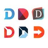 Design för vektor för tecken för företag för D-bokstavslogo Fotografering för Bildbyråer