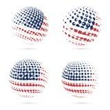 Design för vektor USA för rastrerad flaggauppsättning patriotisk Arkivfoton