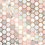 Design för vektormarmortextur med den guld- honungskakamodellen, svartvit marmorera yttersida, modern lyxig bakgrund royaltyfri illustrationer
