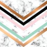 Design för vektormarmortextur med guld- geometriska linjer, svartvit marmorera yttersida, modern lyxig bakgrund vektor illustrationer