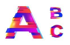 Design för vektortekniskt felalfabet Färgrik tekniskt felstil för neon Colofrul satte en klocka på stilsorten, abstrakt begreppty Arkivfoton