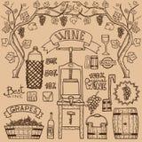 Design för vektorvininfographics Winemaking Arkivfoto