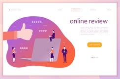 Design för vektorwebbsidabegrepp med online-granskningtema Kontorsfolk med grejer - bärbar dator, minnestavla, smartphone stock illustrationer