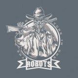 Design för vilda västernt-skjorta etikett med illustrationen av robotcowboyen Arkivbilder