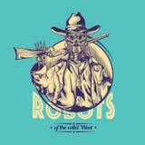 Design för vilda västernt-skjorta etikett med illustrationen av robotcowboyen Royaltyfria Foton