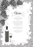 Design för vinlista Royaltyfri Fotografi