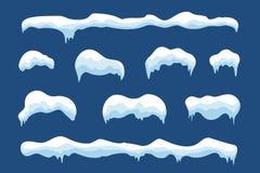 Design för vinter för uppsättning för snöisistapp Mall för vitblåttsnö Snöig ramgarnering som isoleras på blå bakgrund cartoon royaltyfri illustrationer