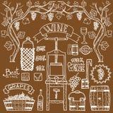 Design för Winemaking för illustrationer för vektorvininfographics Royaltyfria Foton