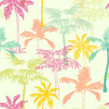 Design för yttersida för modell för guling för gräsplan för vektorpalmträdKalifornien rosa färger sömlös med exotiskt, dekorativt Royaltyfri Bild