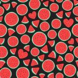 Design för yttersida för modell för vattenmelonstycken sömlös Vektorillustration som isoleras på svart stock illustrationer