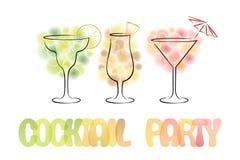 Design für Cocktailpartyeinladung mit Cocktails lizenzfreie abbildung