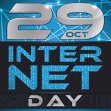 Design für Internet-Tag mit glühenden Verbindungen und binär Code, Vektor-Illustration Stockbilder
