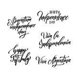 Design f?r Argentina h?lsningkort Kalligrafibokst?ver ocks? vektor f?r coreldrawillustration royaltyfri illustrationer