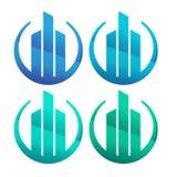 Design f?r logo f?r konstruktionsf?retag plan logo royaltyfri illustrationer