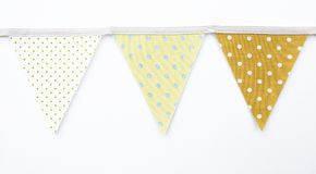 Design Fabric pennant flag. On white paper texture background Royalty Free Stock Images