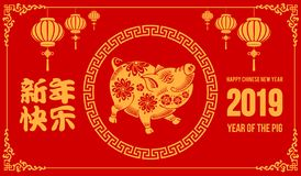 Chinese New Year, Year Of The Pig. Design of festive card for Chinese New Year 2019 with cute pig, zodiac symbol of 2019 year. Chinese Translation Happy New Year royalty free illustration