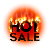 Design with Fire. Hot Sale. Sale Design with Fire. Hot Sale. Vector illustration Royalty Free Stock Images