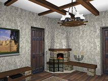 Design of fireplace room. Interior design of fireplace room Stock Image