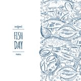 Design a fish menu template for the restaurant menu. Vector illustration Stock Images