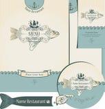 Design of the fish restaurants. Set of elements for the design of the fish restaurants Royalty Free Stock Image