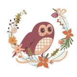 Design floral com caráter da coruja Imagem de Stock Royalty Free