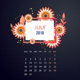 Design  Floral Template Calendar 2018. Design Floral Template Calendar july 2018.  Print Template Calendar with paper cut flowers Royalty Free Stock Photography
