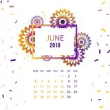 Design  Floral Template Calendar 2018. Design Floral Template Calendar june 2018.  Print Template Calendar with paper cut flowers Stock Photography