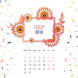 Design  Floral Template Calendar 2018. Design Floral Template Calendar july 2018.  Print Template Calendar with paper cut flowers Stock Images