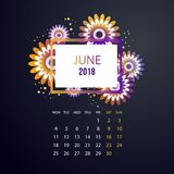 Design  Floral Template Calendar 2018. Design Floral Template Calendar  june 2018.  Print Template Calendar with paper cut flowers Royalty Free Stock Images