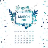 Design  Floral Template Calendar 2018. Design Floral Template Calendar march 2018.  Print Template Calendar with paper cut flowers Royalty Free Stock Images