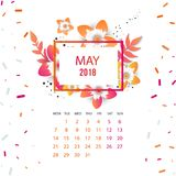 Design  Floral Template Calendar 2018. Design Floral Template Calendar may 2018.  Print Template Calendar with paper cut flowers Royalty Free Stock Photo
