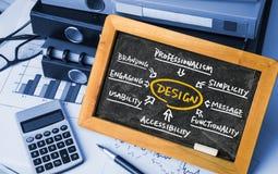 Design flowchart handwritten on blackboard Stock Photos