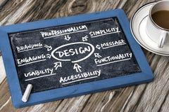 Design flowchart handwritten on blackboard Stock Image