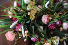 Design flower bouquet on wooden background Stock Image