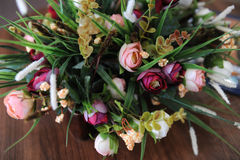 Design flower bouquet on wooden background Stock Photo