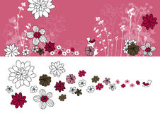 Design with flowers drawing Stock Image