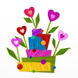 Design with flowers and hearts Royalty Free Stock Photos